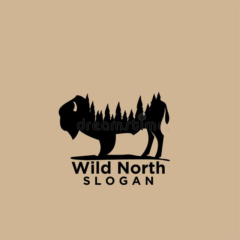 与森林木消极空间商标的北美野牛 皇族释放例证