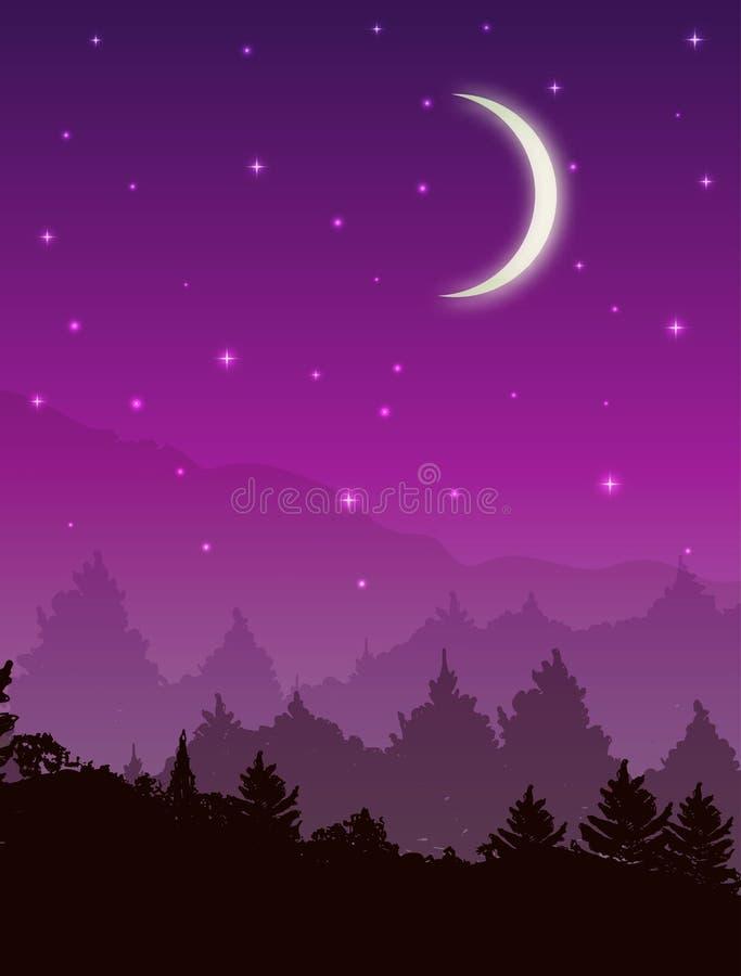 与森林的传染媒介风景在晚上 与星和发光的月亮的桃红色天空 向量例证
