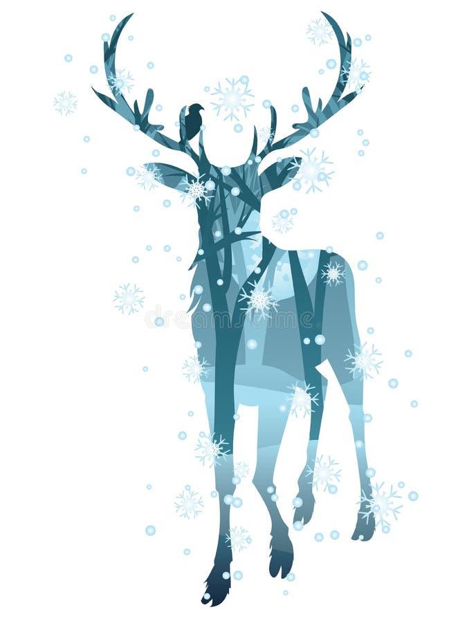 与森林的雄鹿剪影 向量例证