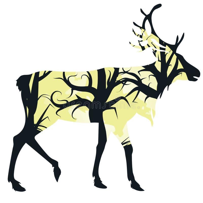 与森林的雄鹿剪影 皇族释放例证