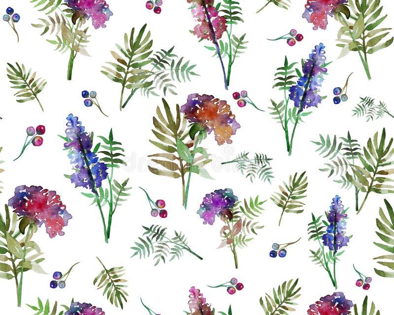与森林花和叶子的葡萄酒花卉草本无缝的样式 不尽纺织品的墙纸的印刷品 手拉 皇族释放例证