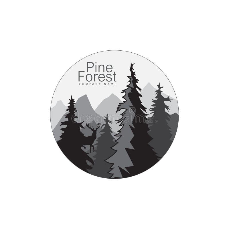 与森林风景的圆的象 圈子自然商标 也corel凹道例证向量 免版税库存图片