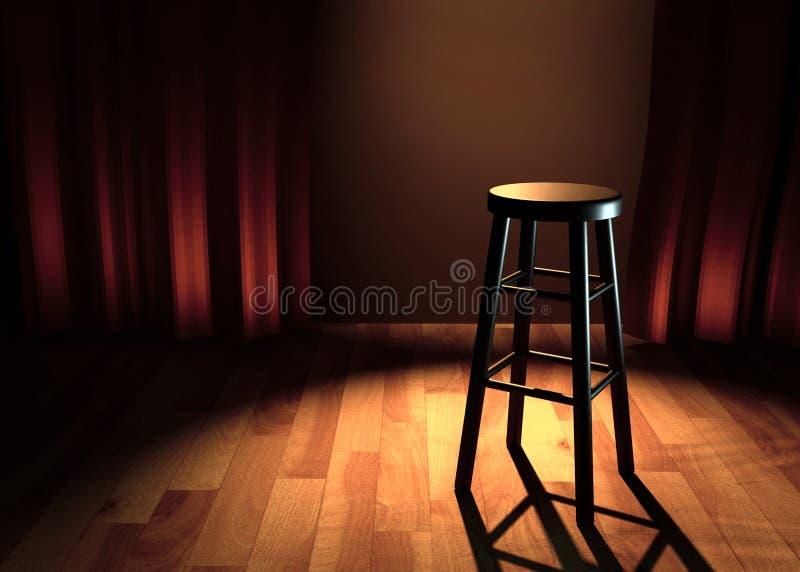 与椅子和斑点的喜剧阶段点燃3d例证 库存例证
