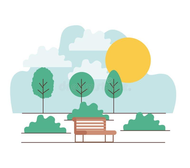与椅子的公园场面 向量例证