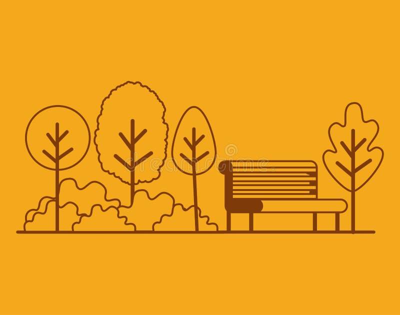 与椅子的公园场面 库存例证