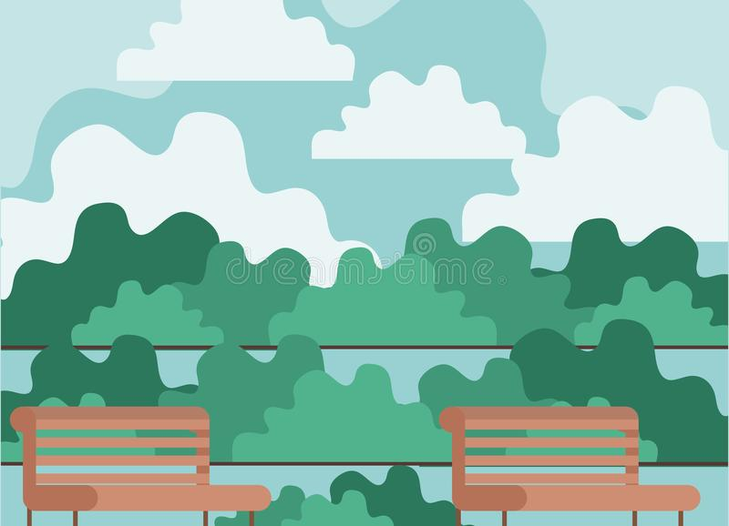 与椅子的公园场面 皇族释放例证