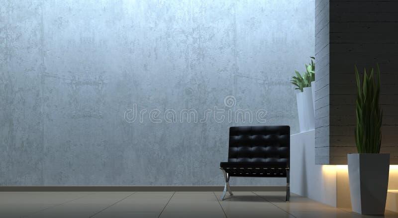 与椅子的现代内部场面 库存例证