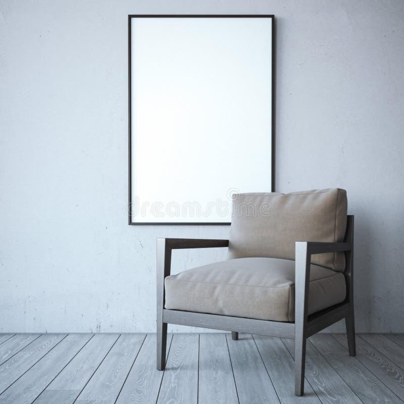 与椅子的空白的白色框架在明亮的内部 库存图片