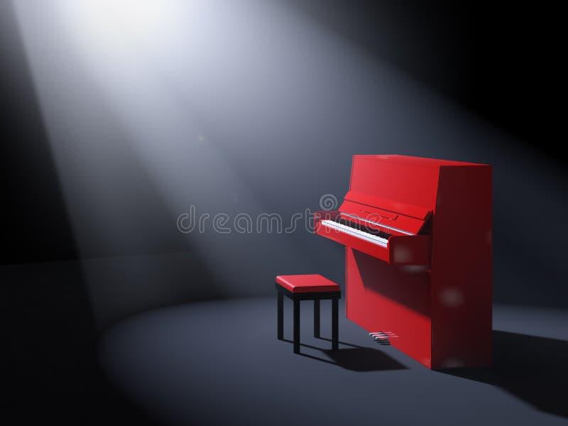 与椅子的红色钢琴在阶段 库存例证