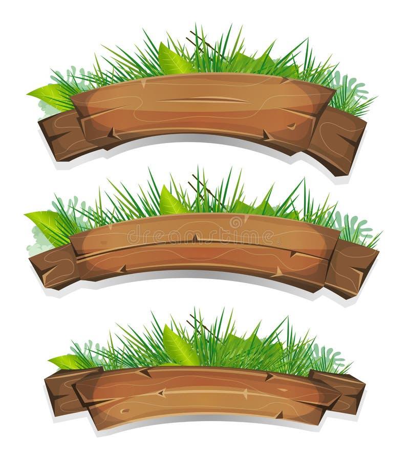 与植物叶子的可笑的木横幅 向量例证