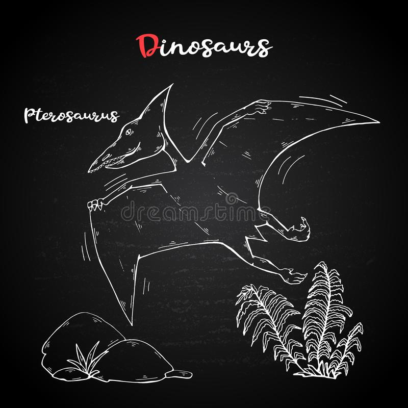 与植物和石头的传染媒介Pterosaur在白垩黑板 皇族释放例证
