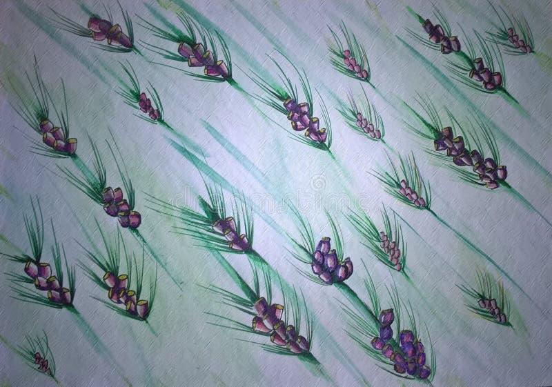 与植物和花的无缝的样式在白色背景 皇族释放例证