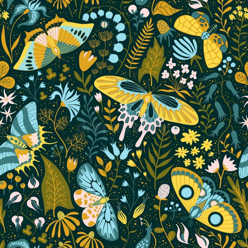 与植物和蝴蝶的无缝的手拉的样式 库存例证