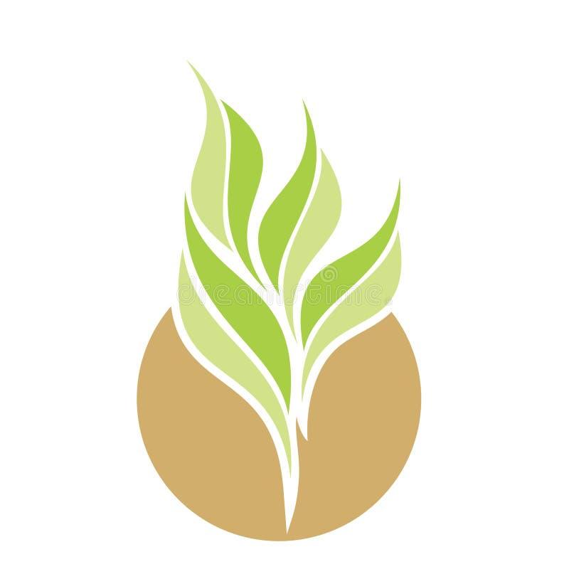 与植物商标的传染媒介美丽的救球地球 库存例证