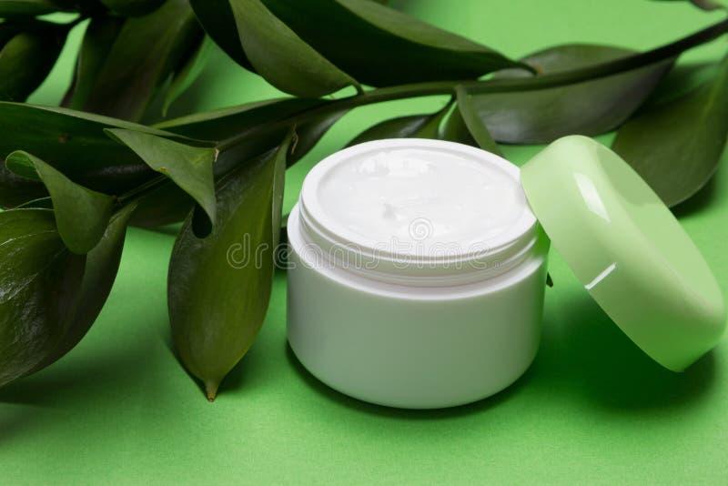 与植物来源组分的素食主义者化妆用品  库存图片