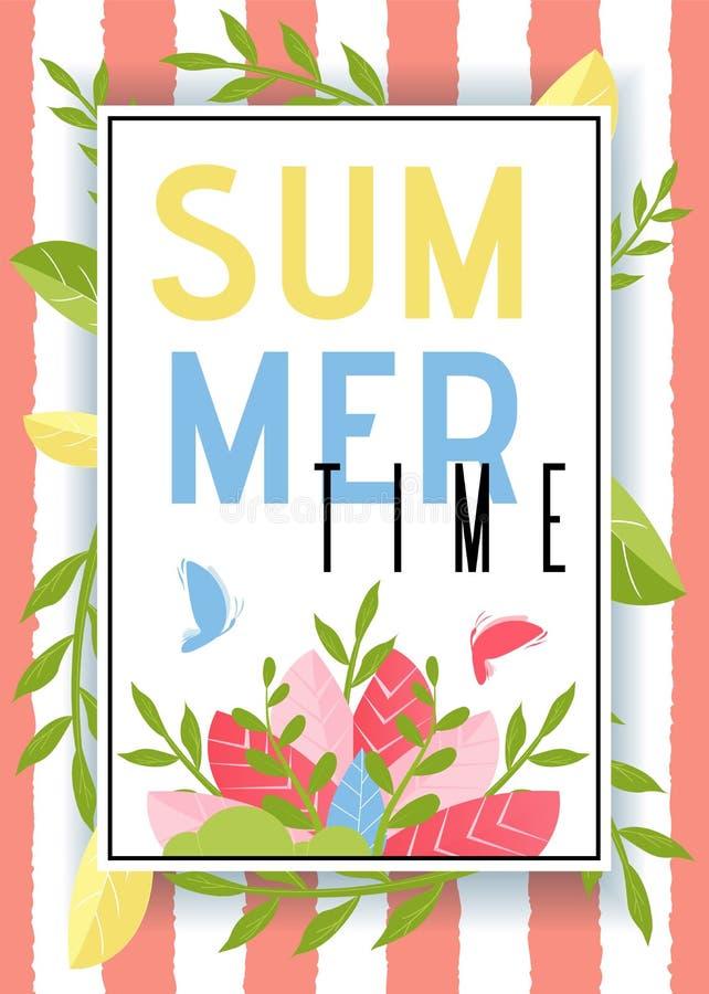 与植物的夏时广告留下装饰 向量例证
