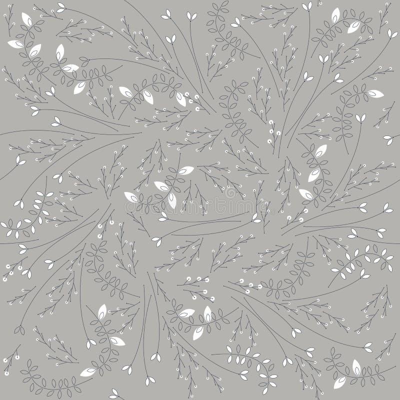 与植物的深情的无缝的乱画样式 库存例证