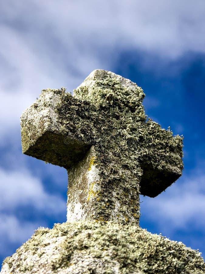 与植物的石十字架有作为背景的天空的 库存图片