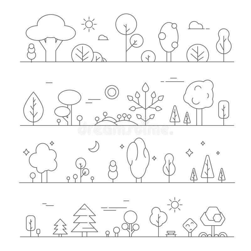 与植物的风景 导航单音线小山和树图片  向量例证