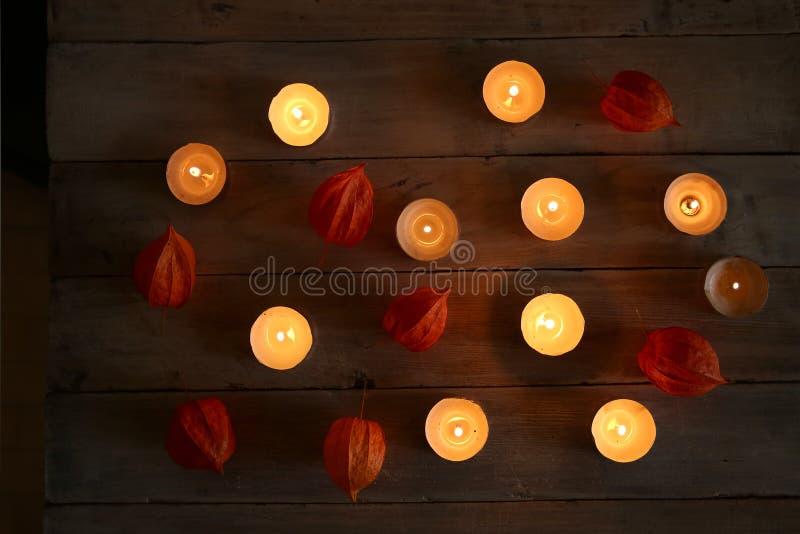 与植物装饰的灼烧的蜡烛在黑暗中 图库摄影