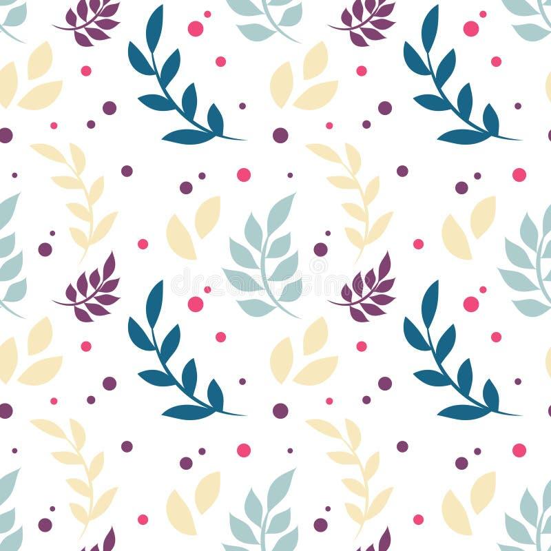 与植物,叶子,小点的典雅的花卉无缝的样式 库存例证