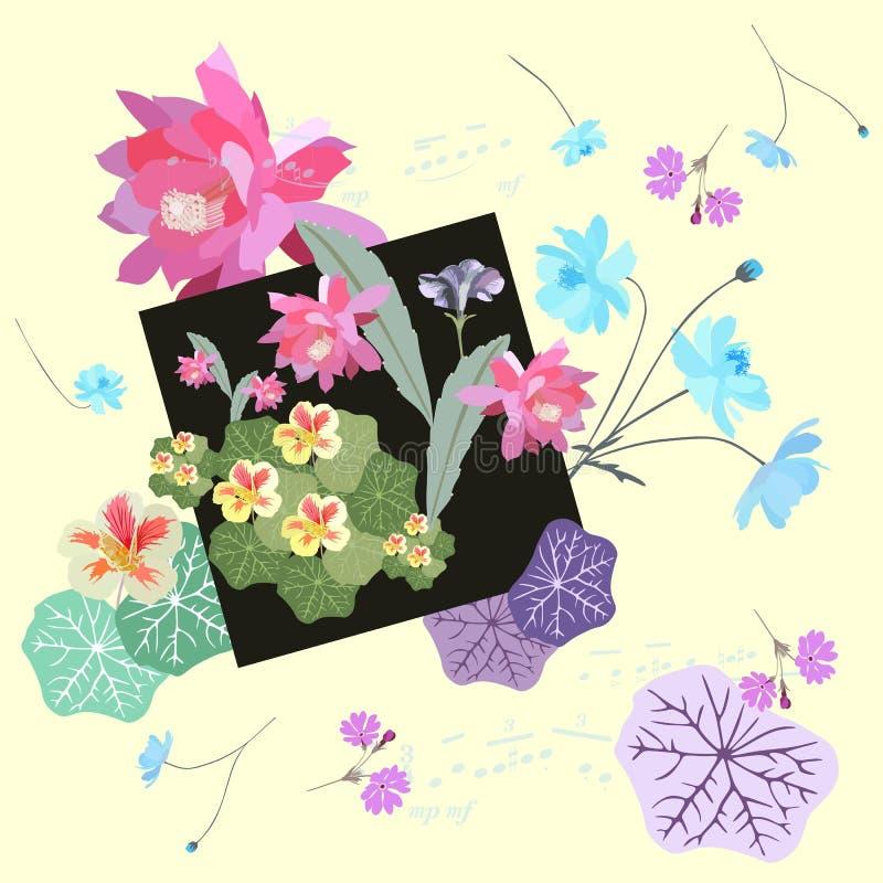 与植物-波斯菊、报春花、金莲花和epiphillum花的独特的组合的葡萄酒浪漫样式 库存例证