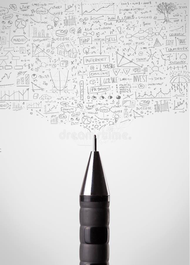 与概略图的铅笔特写镜头 库存照片