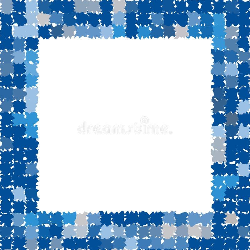 与概略的接合的边缘的抽象框架 照片框架用不同的树荫蓝色和灰色 向量例证