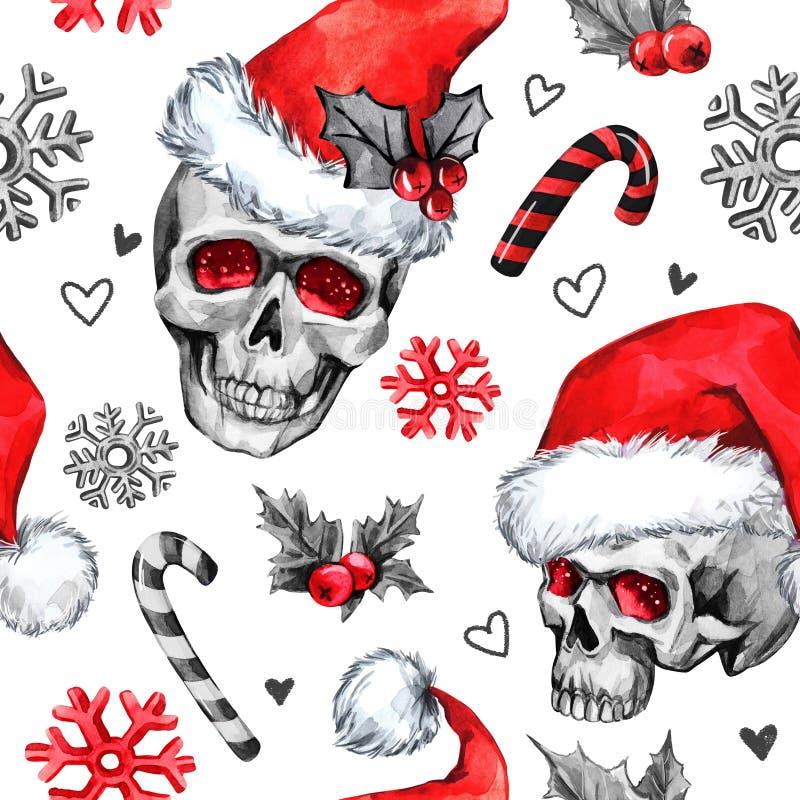 与概略头骨在圣诞老人帽子, snowfalkes的水彩无缝的样式,离开 Cretive新年 庆祝 库存例证