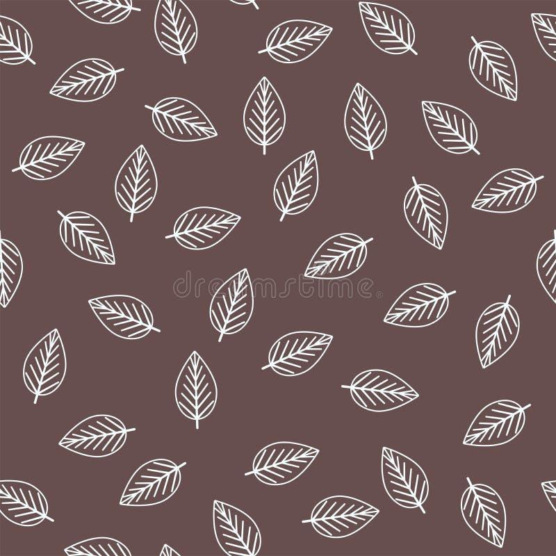 与概述叶子的无缝的样式在棕色背景 库存例证