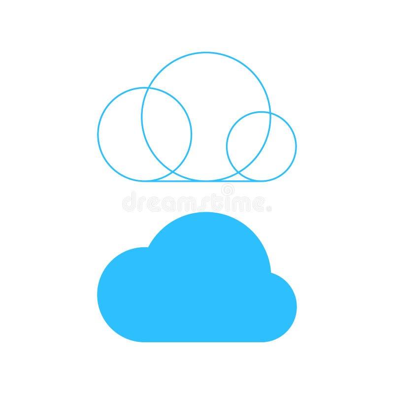 与概述基地的简单的云彩象 向量例证