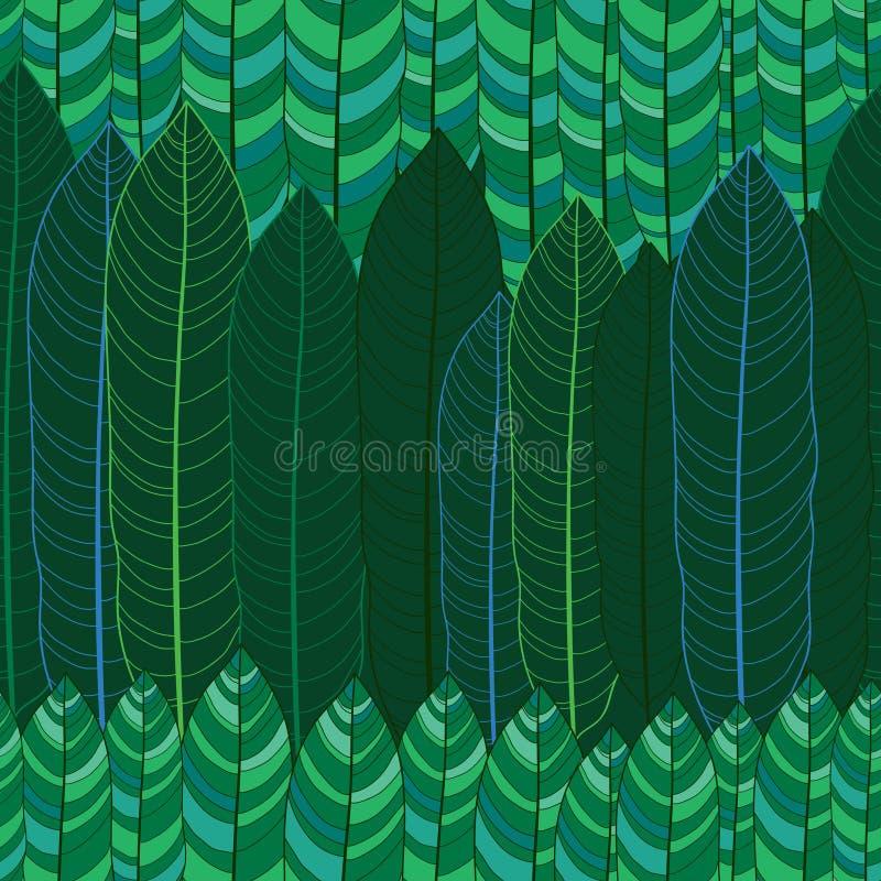 与概述热带绿色叶子的传染媒介无缝的样式在黑暗的背景 与华丽热带叶子的花卉样式 向量例证