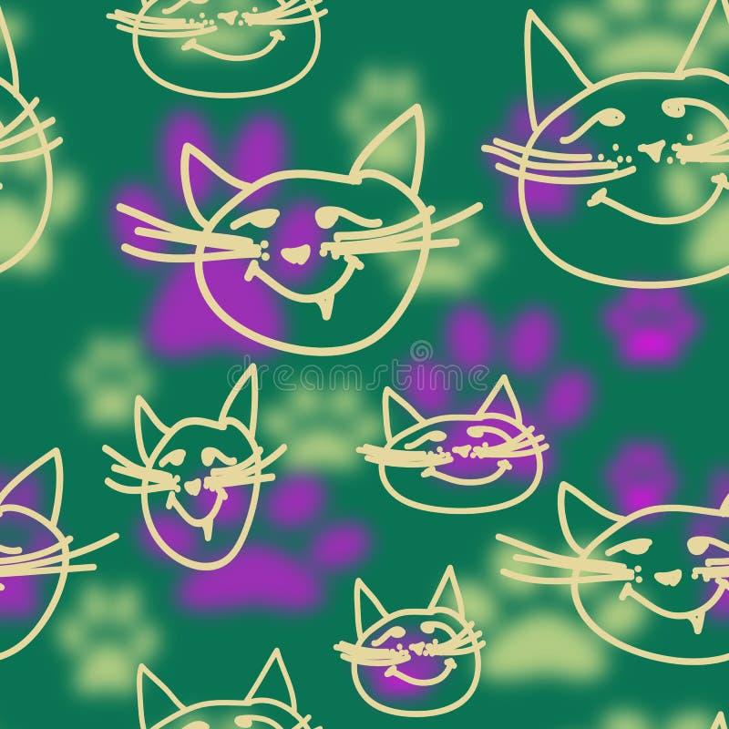 与概述猫面孔和模糊的猫脚印的无缝的样式 向量例证