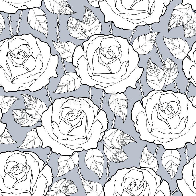 与概述玫瑰色花、词根和叶子的传染媒介无缝的样式在灰色背景的黑色 高雅花卉背景 库存例证
