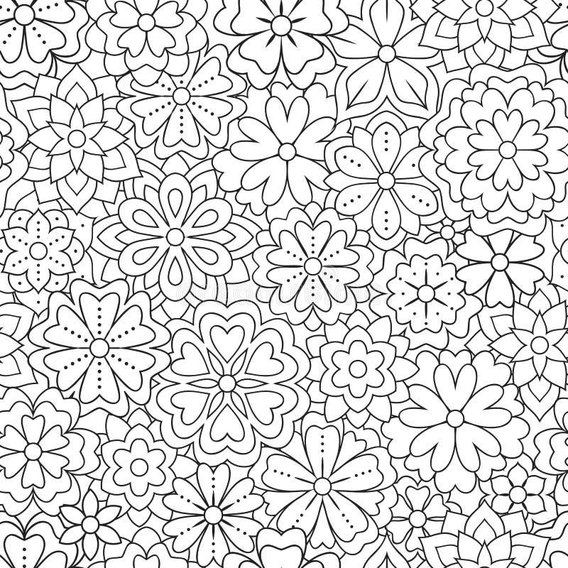 与概述的无缝的样式为彩图开花 颜色艺术品的美好的花卉背景 单色 向量例证