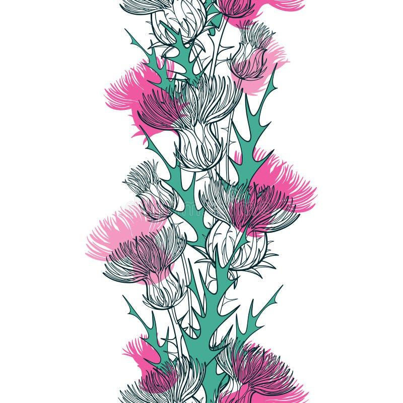 与概述蓟或Carduus植物、多刺的叶子、芽和花的传染媒介无缝的样式在白色的绿色和粉红彩笔 库存例证