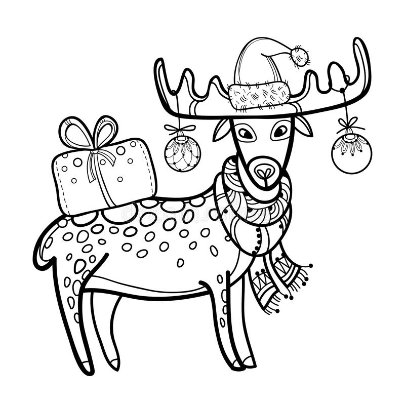 与概述逗人喜爱的动画片鹿的传染媒介问候与圣诞老人在白色背景在黑色的盖帽和礼物袋子隔绝的 库存例证