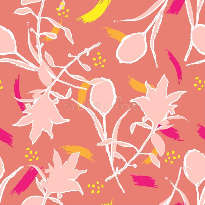与概述s的美丽的五颜六色的手剪影刷子郁金香花 皇族释放例证