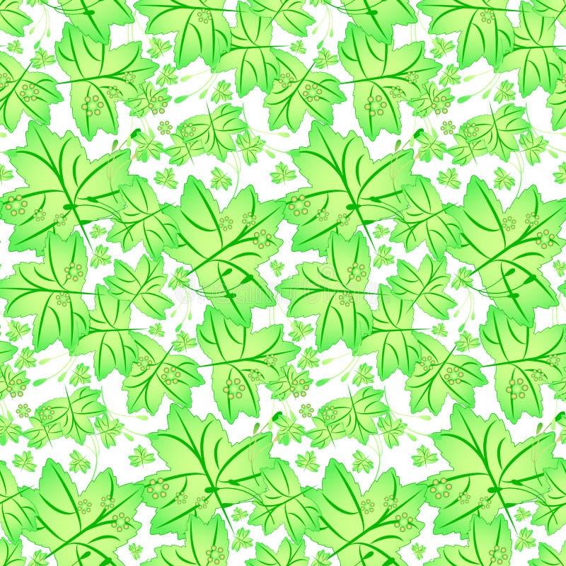 与槭树叶子的无缝的春天样式 向量例证