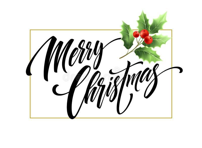 与槲寄生分支的圣诞快乐手拉的字法 向量例证