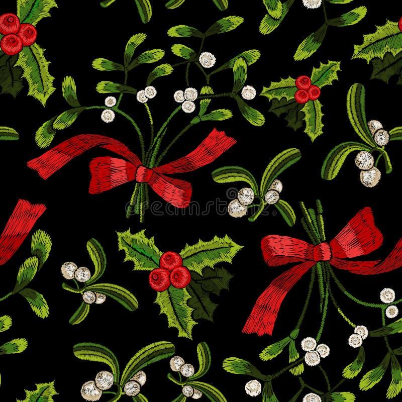 与槲寄生的刺绣圣诞节无缝的样式 库存例证