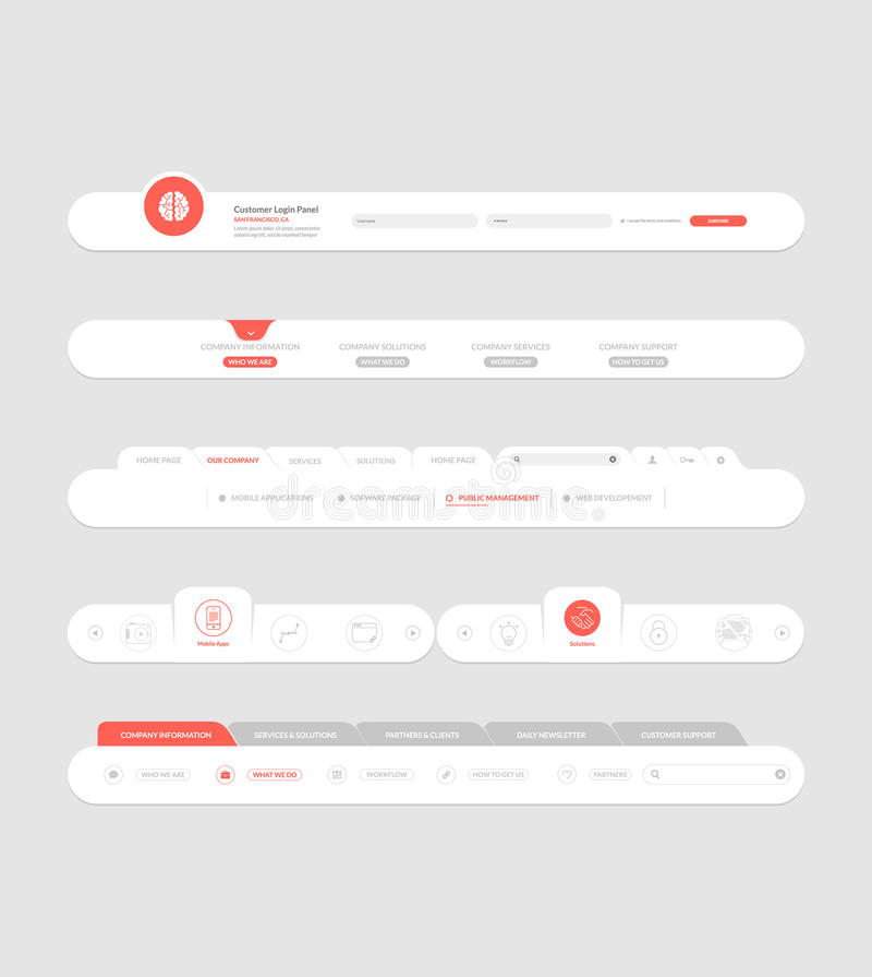 与横幅和概念象的平的网站航海元素 库存例证