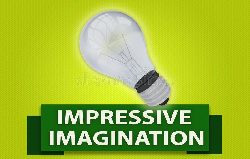 与横幅和电灯泡的印象深刻的想象力概念 皇族释放例证