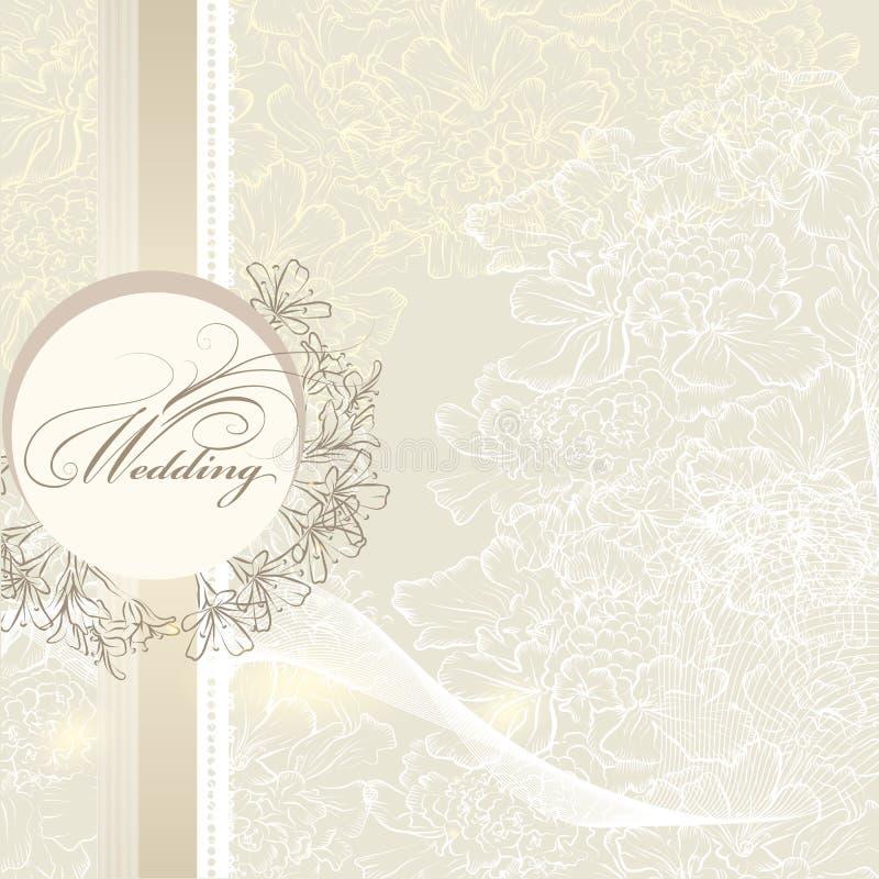 与横幅和花的典雅的婚礼邀请卡片 向量例证