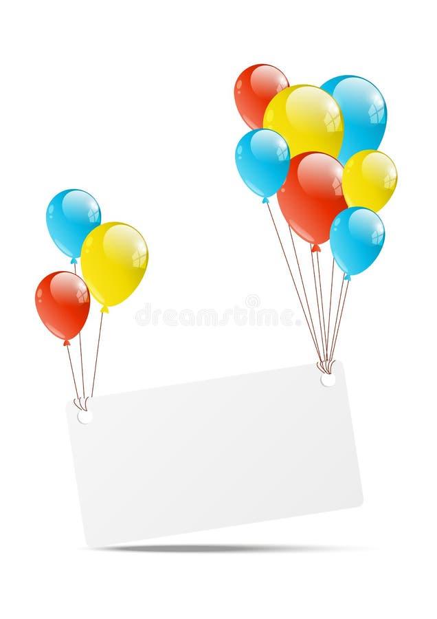 与横幅的气球 库存例证