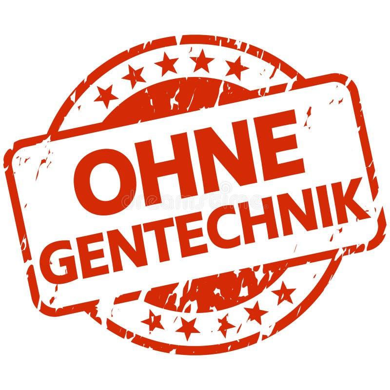 与横幅的红色邮票没有遗传工程(;用德语 库存例证