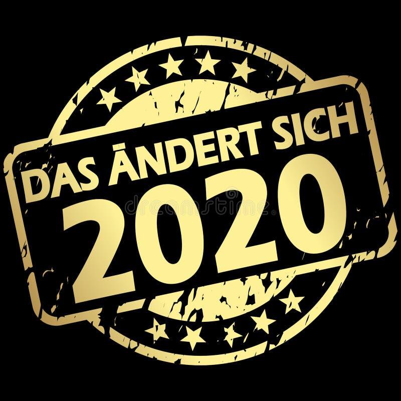 与横幅的金邮票在2020个(上的变化;用德语 皇族释放例证
