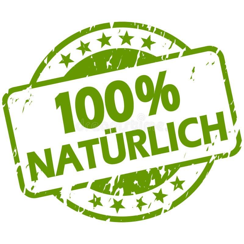 与横幅100%自然(的绿色难看的东西邮票;用德语 向量例证