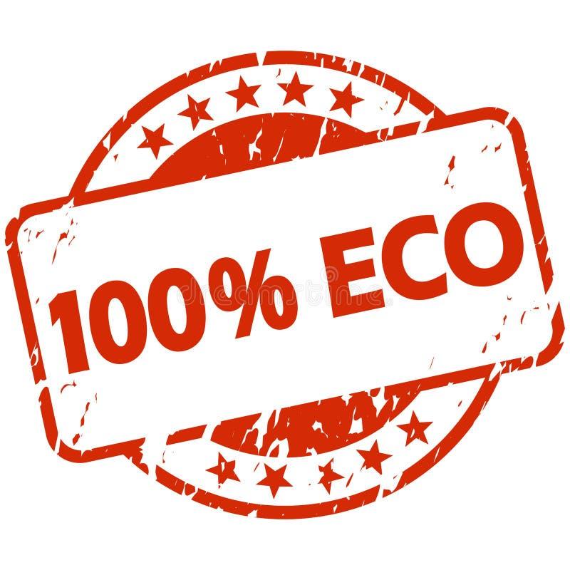 与横幅100% Eco的红色难看的东西邮票 皇族释放例证