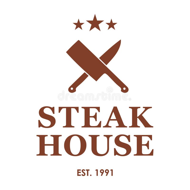 与横渡的刀子的牛排餐厅象征 牛排餐厅或肉商店商标模板 也corel凹道例证向量 向量例证